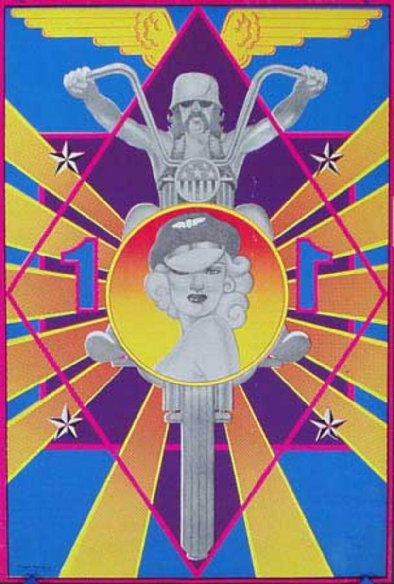 Original Vintage 1960s Psychedelic Poster Robbins Cycle