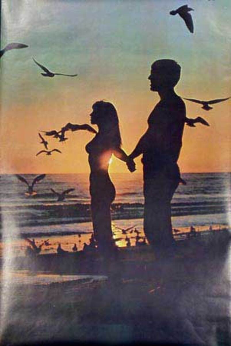 Sunset Couple Original Vintage 1960s Psychedelic Poster