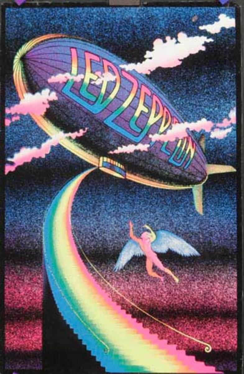Led Zepplin Original Black Light Velvet Poster