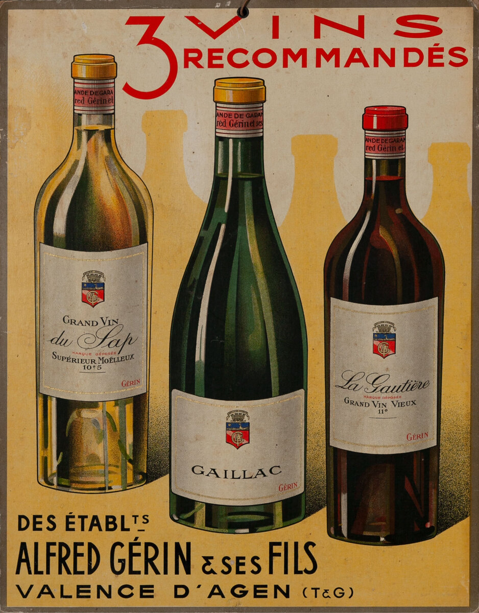 3 Vins Recommend Original French Advertising Poster