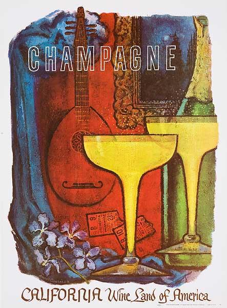 California, Wine Land of America, Original American Wine Land Promotion Advertising Poster Champagne