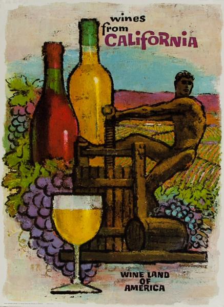 California, Wine Land of America, Original American Wine Promotion Advertising Poster Wine Press