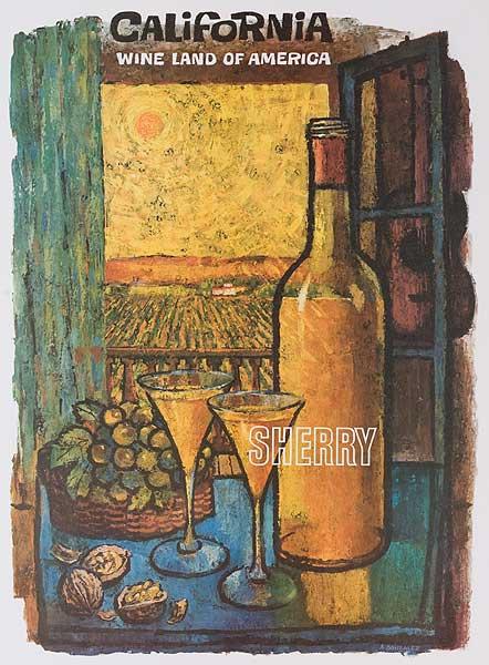 California, Wine Land of America, Original American Wine Promotion Advertising Poster Sherry