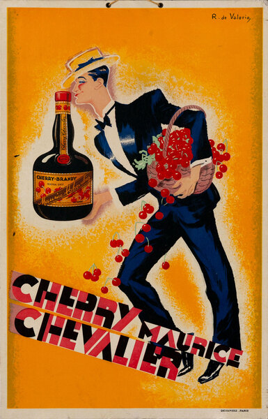 Cherry Maurice Chevalier Original French Advertising Poster large size