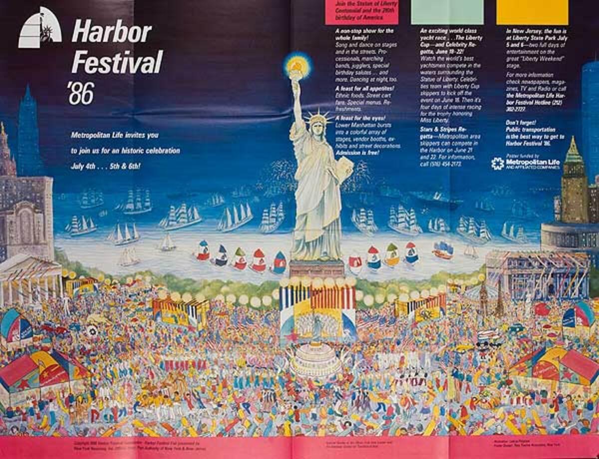 New York City (NYC) Harbor Festival Poster 1986 Vintage