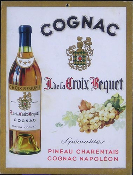 Cognac De La Croix Bequet Original French Advertising Poster