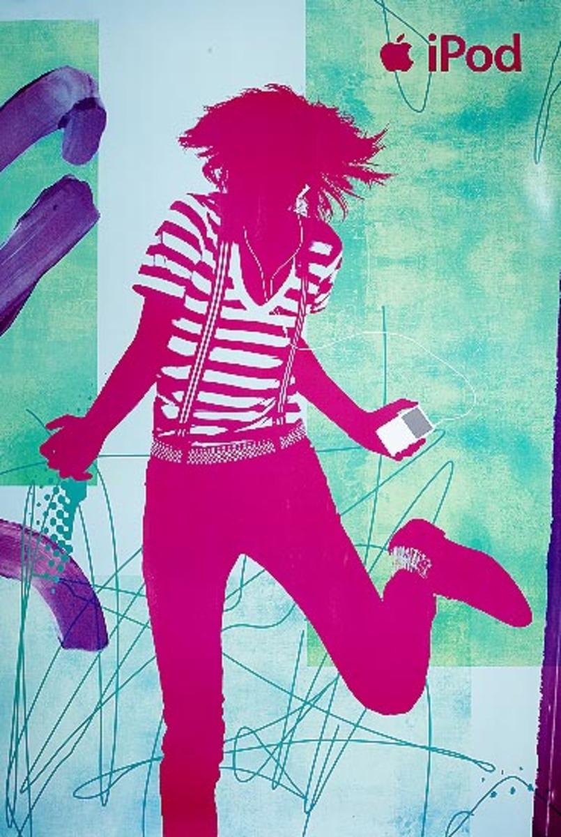 Original 2007 Apple IPOD Advertising Poster  red guy striped shirt