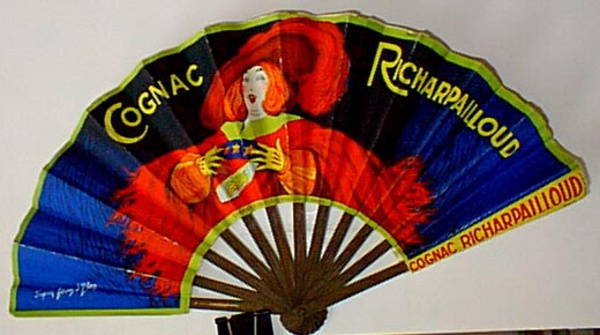 Original Vintage Advertising Fan Cognac Richarpailloud