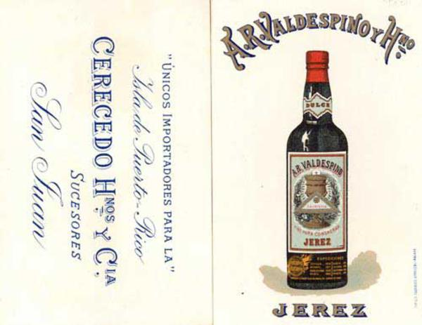 Original Spanish Advertising Card Jerez Valdespino