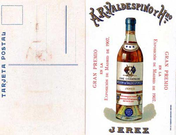 Original Spanish Advertising Card Fine Champagne Jerez Wilson and Valdespino