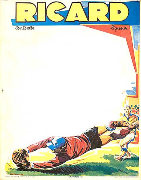 Ricard Liquer Original Vintage Advertising Poster Soccer