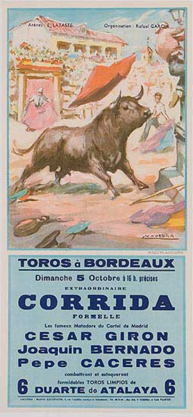 Bullfight Original Sport Poster 5 Octobre Toros a Bordeaux Cesar Giron bullfighter