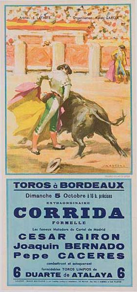 Bullfight Original Sport Poster 5 Octobre Toros a Bordeaux Cesar Giron bull