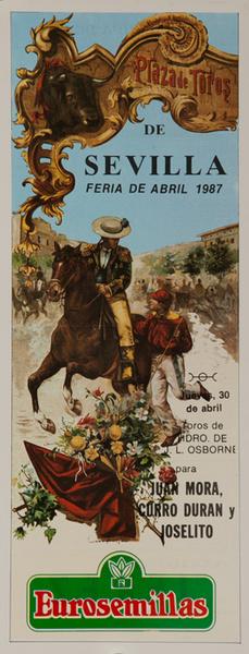 Sevilla Spain Original Spanish Bullfight Poster Abril 1987 Juan Mora
