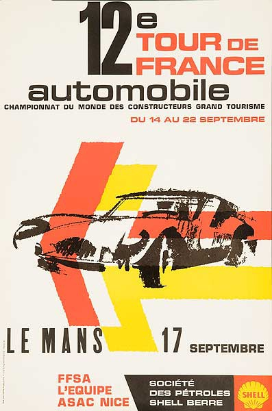 12th Tour De France Automobile Original Racing Poster