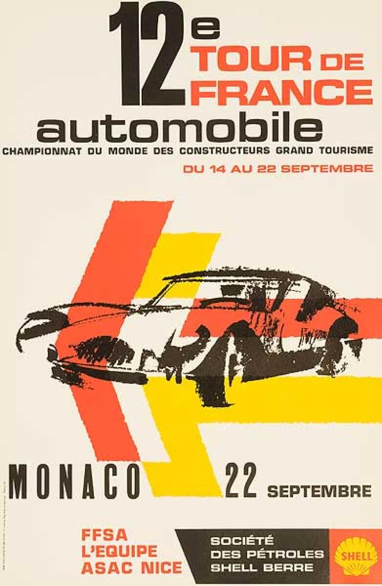 12th Tour De France Automobile Original Racing Poster Monaco