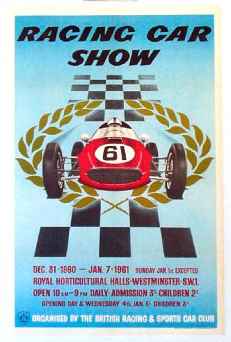 1961 Racing Car Show Original Racing Poster