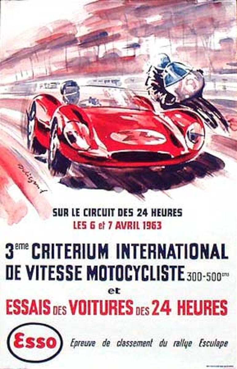 1963 3rd Criterium on 24 hr LeMans Course Original Formula 1 Auto Race Poster