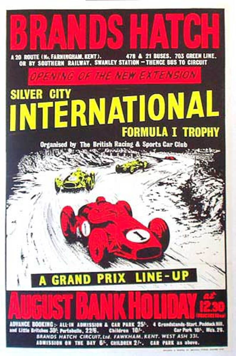 1961 Brands Hatch Formula 1 Original Racing Poster