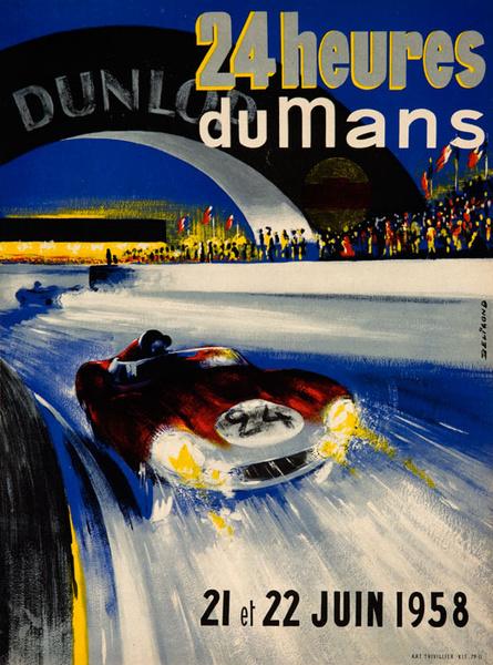 1958 Le Mans 24 Hours Formula 1 Original Vintage Auto Race Poster