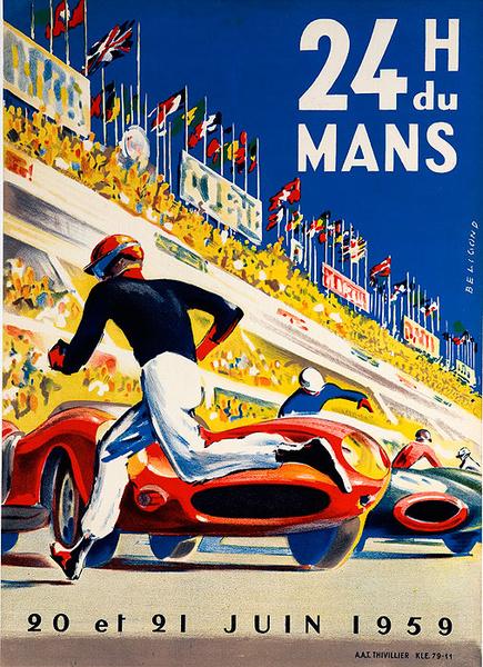 24 hours Le Mans 1959 Original Vintage F1 Racing Poster