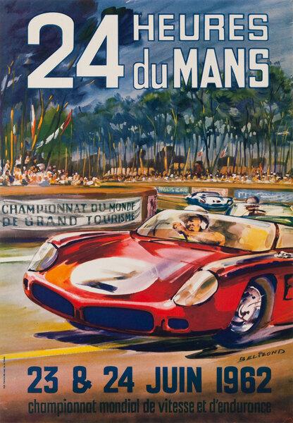 24 hours Le Mans 1962 Original Vintage F1 Racing Poster