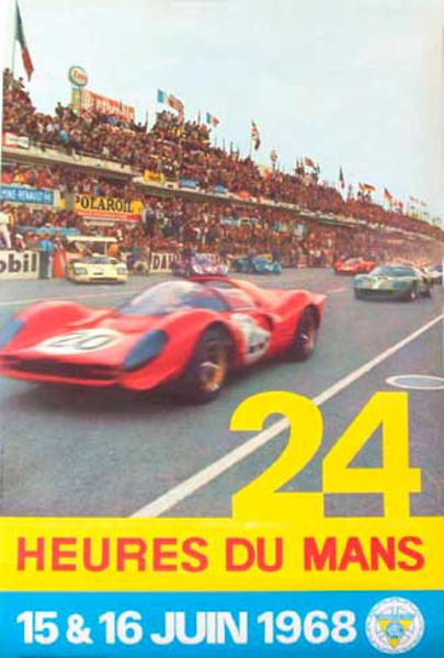 24 hours Le Mans 1968 June Original Vintage F1 Racing Poster