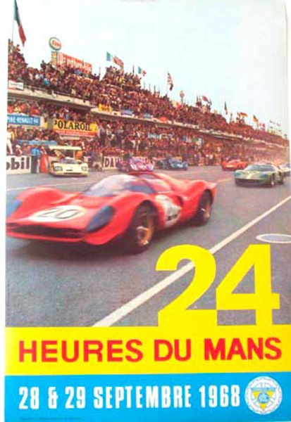 24 hours Le Mans 1968 September Original Vintage F1 Racing Poster