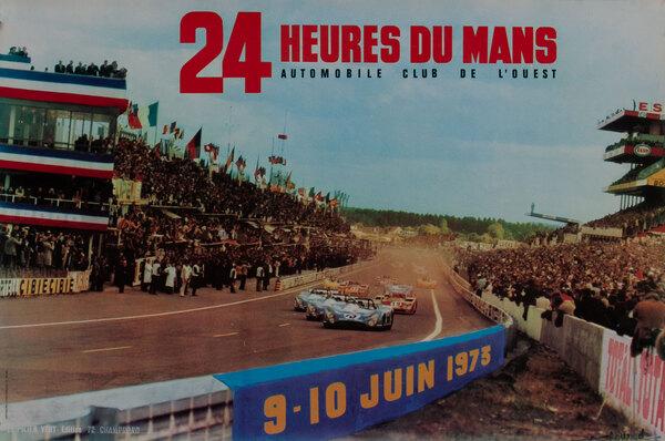 24 hours Le Mans 1973 Original Vintage F1 Racing Poster