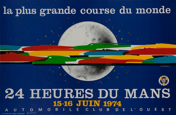 24 hours Le Mans 1974 Original Vintage F1 Racing Poster