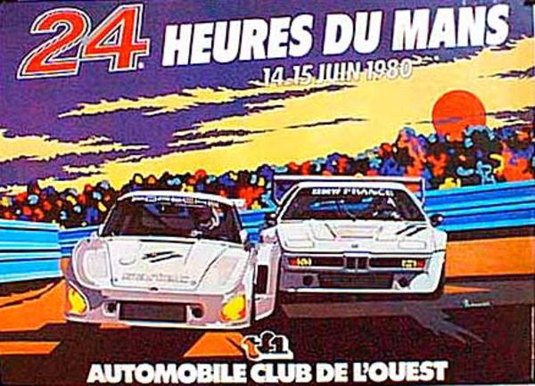 24 hours Le Mans 1980 Original Vintage F1 Racing Poster