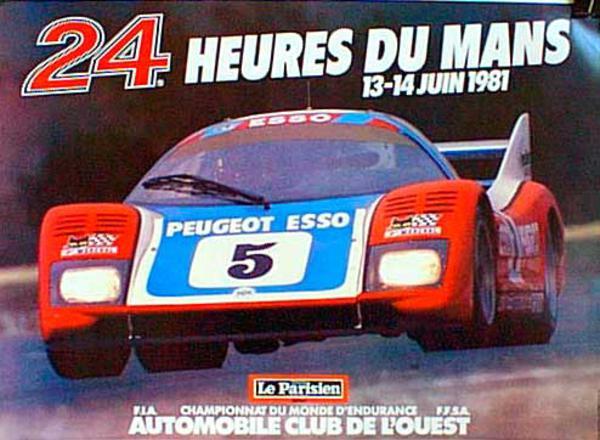 24 hours Le Mans 1981 Original Vintage F1 Racing Poster