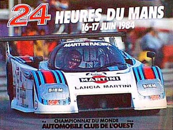 24 hours Le Mans 1984 Original Vintage F1 Racing Poster