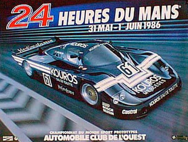 24 hours Le Mans 1986 Original Vintage F1 Racing Poster