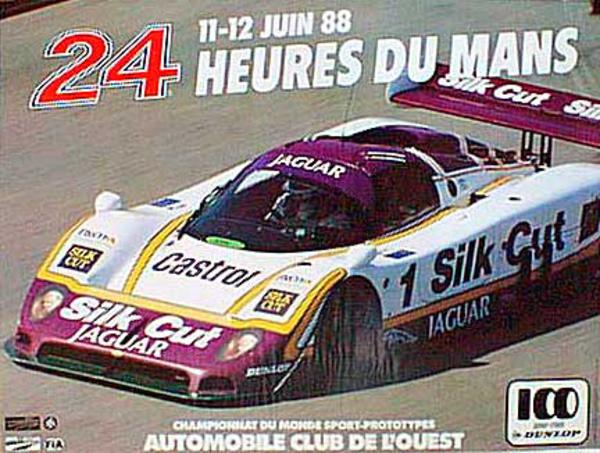 24 hours Le Mans 1988 Original Vintage F1 Racing Poster