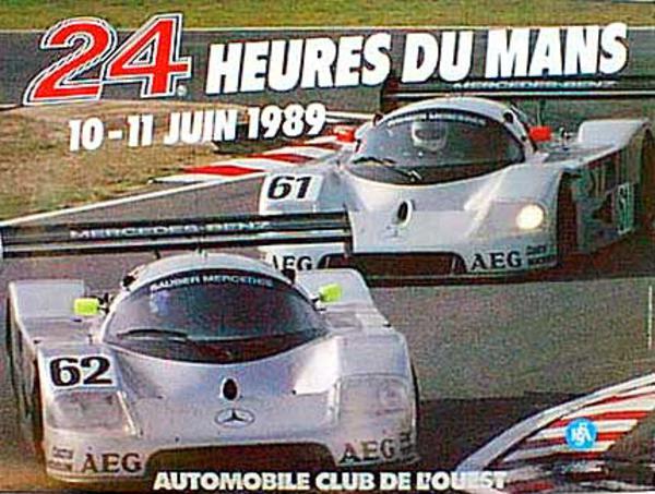 24 hours Le Mans 1989 Original Vintage F1 Racing Poster