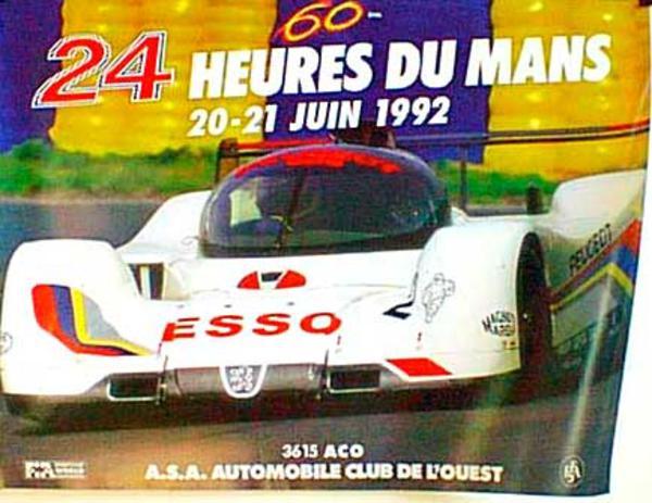 24 hours Le Mans 1992 Original Vintage F1 Racing Poster