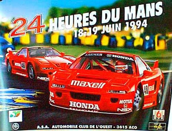 24 hours Le Mans 1994 Original Vintage F1 Racing Poster