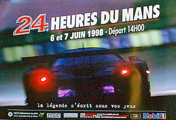 24 hours Le Mans 1998 Original Vintage F1 Racing Poster