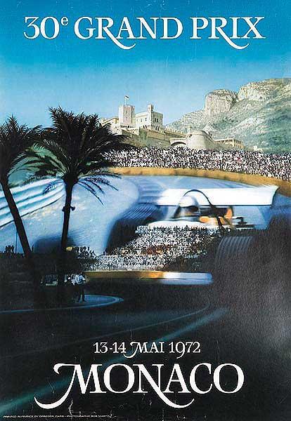 Monaco Grand Prix Original 1972 FI Racing Poster