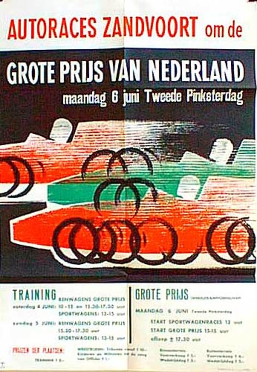1961 Netherlands Grand Prix Original F1 Racing Poster