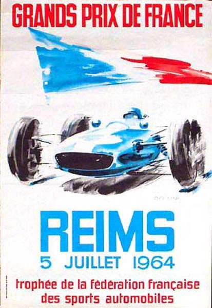 Reims 1964 Original Vintage Formula 1 Racing Poster