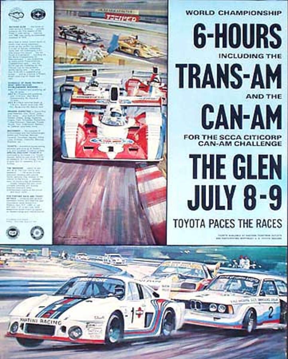 Watkins Glen Can Am 6 Hour Trans Am Can Am Original Vintage Motor Racing Poster July 8 9