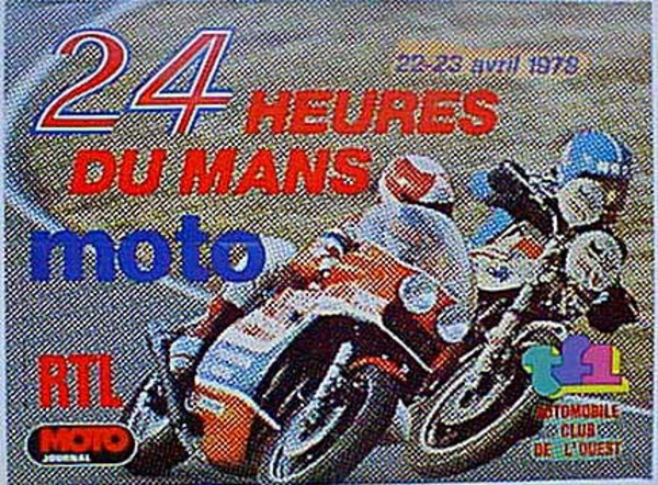 Le Mans 24 Motorcycle Race 1978 Original Vintage Motorcycle Racing Poster
