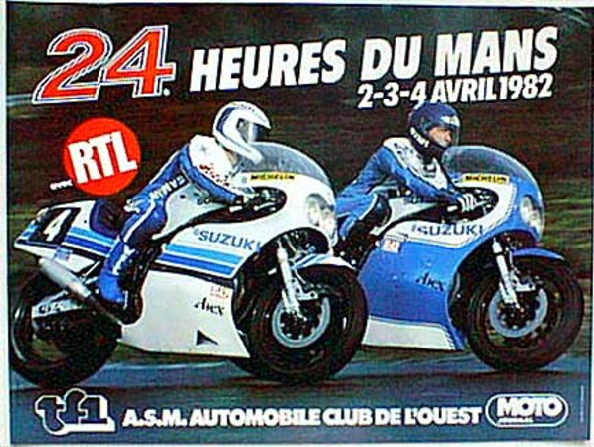Le Mans 24 Motorcycle Race 1982 Original Vintage Motorcycle Racing Poster