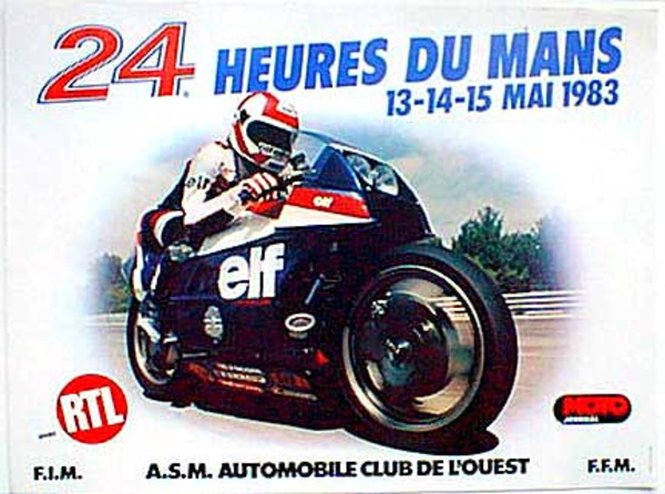 Le Mans 24 Motorcycle Race 1983 Original Vintage Motorcycle Racing Poster