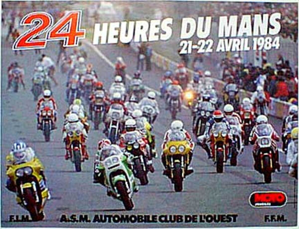 Le Mans 24 Motorcycle Race 1984 Original Vintage Motorcycle Racing Poster