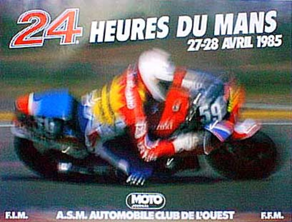 Le Mans 24 Motorcycle Race 1985 Original Vintage Motorcycle Racing Poster