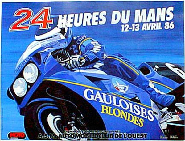 Le Mans 24 Motorcycle Race 1986 Original Vintage Motorcycle Racing Poster