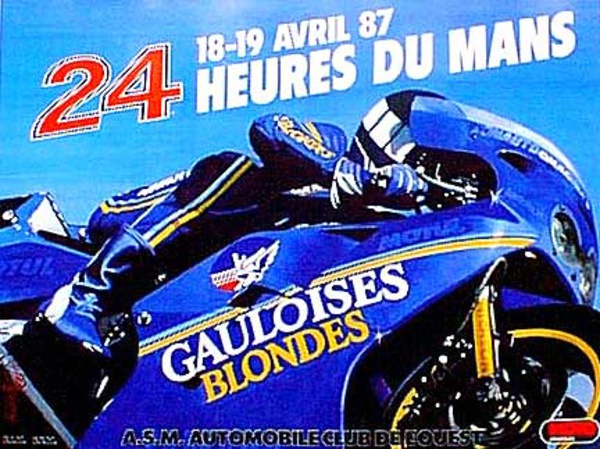 Le Mans 24 Motorcycle Race 1987 Original Vintage Motorcycle Racing Poster